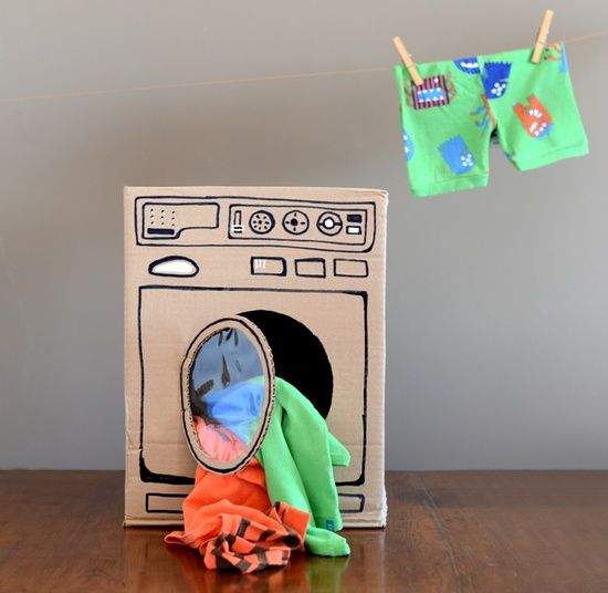 DIY cardboard kids washer.  Tomorrow we are on the Letter 'W'...., hope we can find a box!