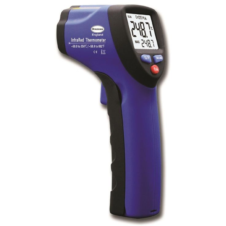 Hand Held Infrared Thermometer which covers a temperature range of -50 to 350 C&F. It has a large backlit LCD screen with data hold and power off function. Other features of this Infrared thermometer are a built in laser pointer and over-range indication.