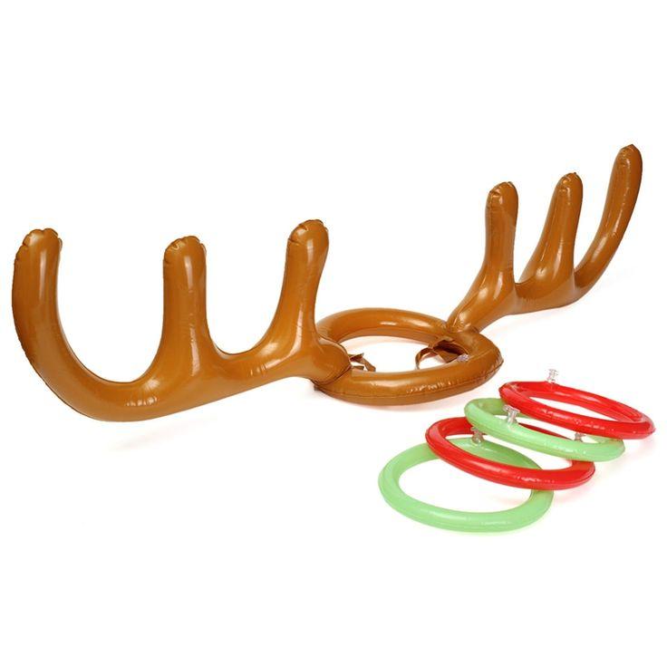 1 セット インフレータブル おもちゃ トナカイ枝角輪投げ ルアウ トロピカル ビーチ プール パーティー ゲーム屋外面白い ゲーム おもちゃ クリスマス キッド ギフト