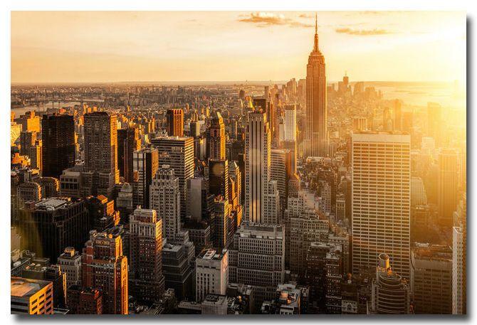 Morning Sunrise New York City Landscape Art Silk Poster Print 13x20 24x36 002 New York Wallpaper New York City Background Visiting Nyc