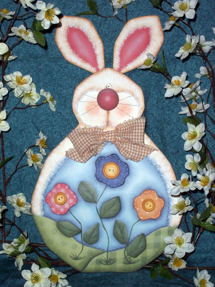 Easter Bunny Painting On Wood
