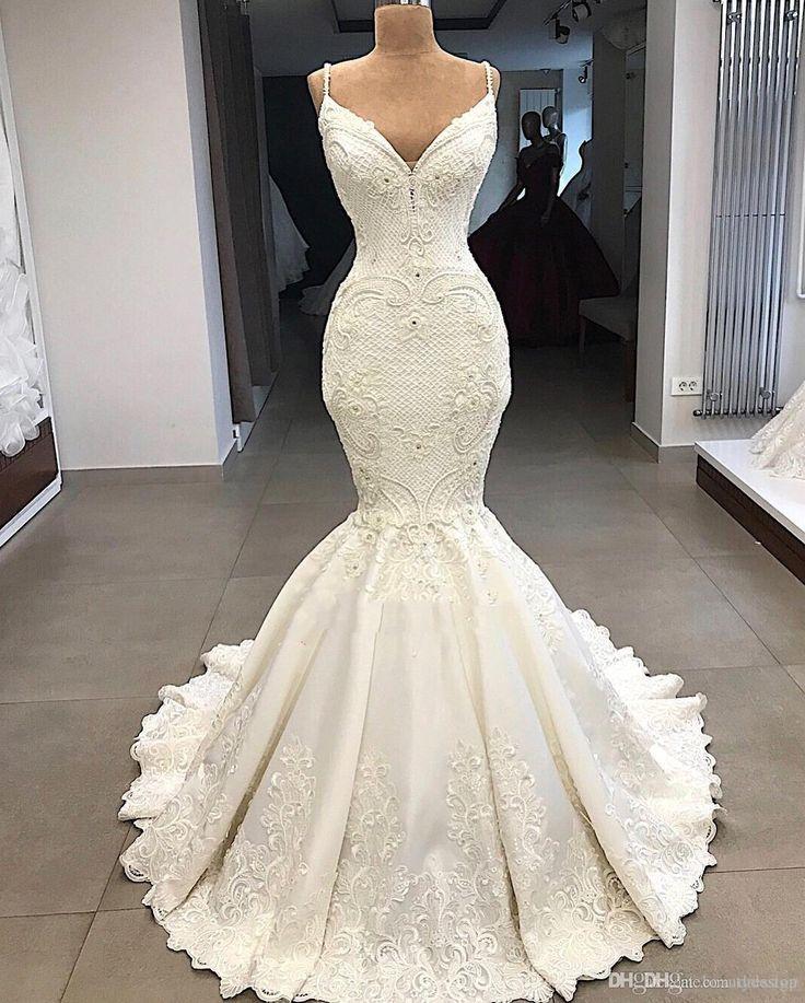 Délicates Gown De Mariée Sirène Practice Détachable 2019 V Cou Gown De Mariée En Dentelle Plus La Taille Dos Nu Robes De Mariée Sur Mesure