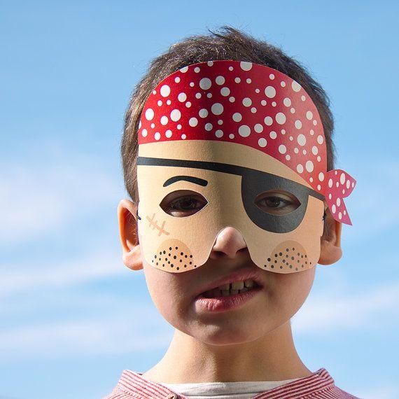 PIRATE Paper Mask  Printable PDF Toy  DIY Craft Kit by pukaca