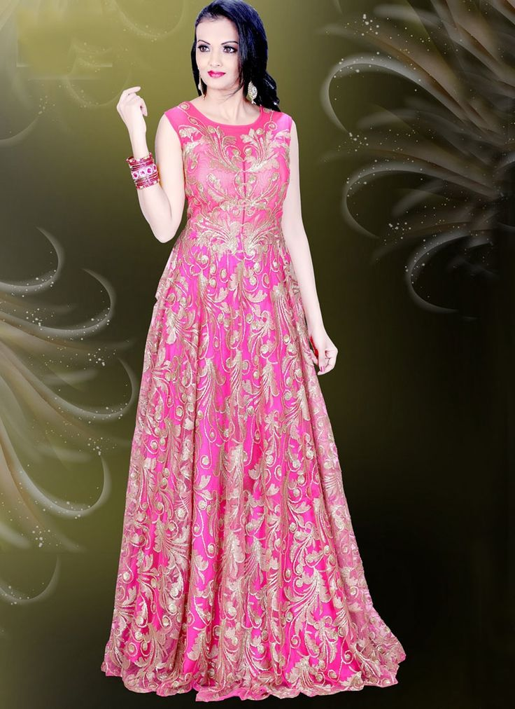 Buy Delectable Embroidered Work Readymade Gown, Online