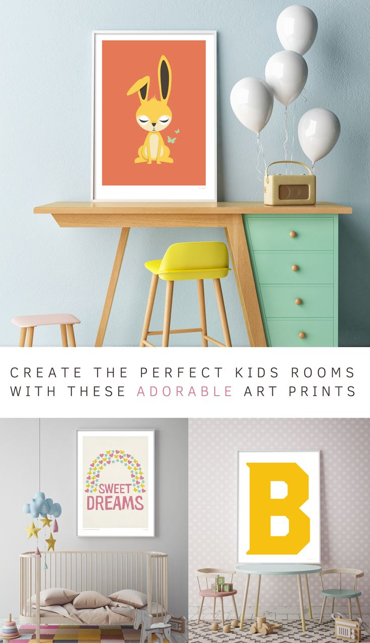 Create the perfect kids rooms with these adorable wall art prints from Lucky 5   home decor for kids   letters and animals and bright colours