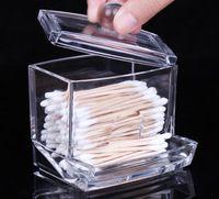 Cristal acrílico Cosmetic OrganizerMakeup Algodón Pad Organizador de maquillaje Hisopos Organizador
