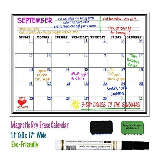 "Immuson Magnetic Refrigerator Message Calendar 17"" x 11"" Monthly Weekly Refrigerator White Board Dry Erase Board for Kitchen Fridge With Strong Magnet, Includes 2 Magnetic Erasers + 2 Markers  Size: 17""L x 11""W  Fits great on ANY kitchen refrigerator and magnetic receptive area.  Oil resistant,sleek surface.Reusable & Durable  Write down your grocery list,doctors appointments and any upcoming birthday you want to remember.  Encourage your children to draw and write down their very own ..."