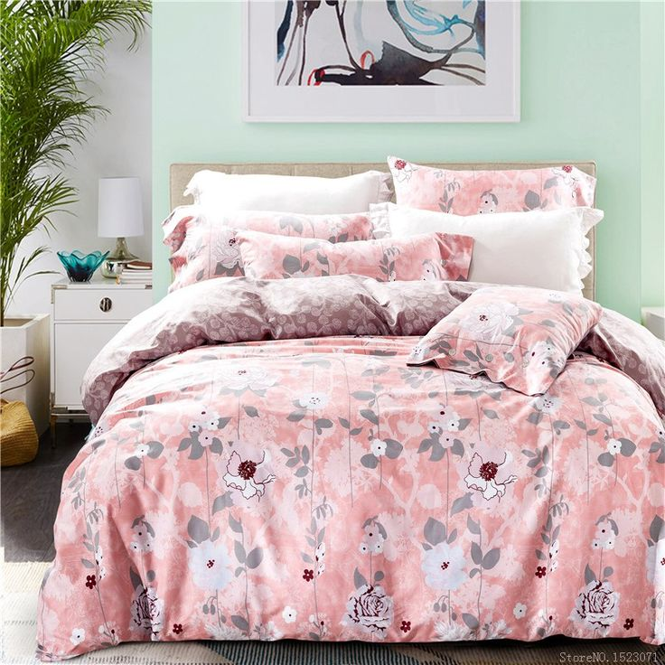 Pink  and gray foral  bedclothes girls bedding set couvre lit ropa de cama bed covers and queen size #Affiliate