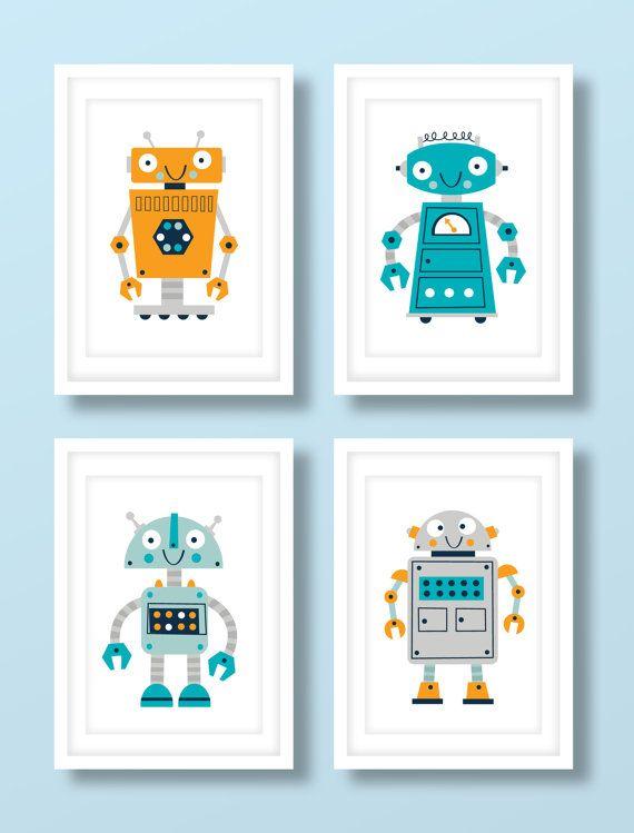 Ensemble imprimé du robot pour enfants.  Ces belles impressions ferait un excellent ajout à toute chambre de bébé garçons chambre de bébé ou enfant en bas âge les garçons. Limpression ensemble dispose dune jolie collection de robots excentriques et est présentée dans un coloris audacieux dorange, turquoise bleu et bleu marine.  Tous nos tirages sont produites les plus hauts standards en utilisant le plus beau 235gsm beaux-arts darchives papier. Le papier blanc naturel, que nous utilisons…