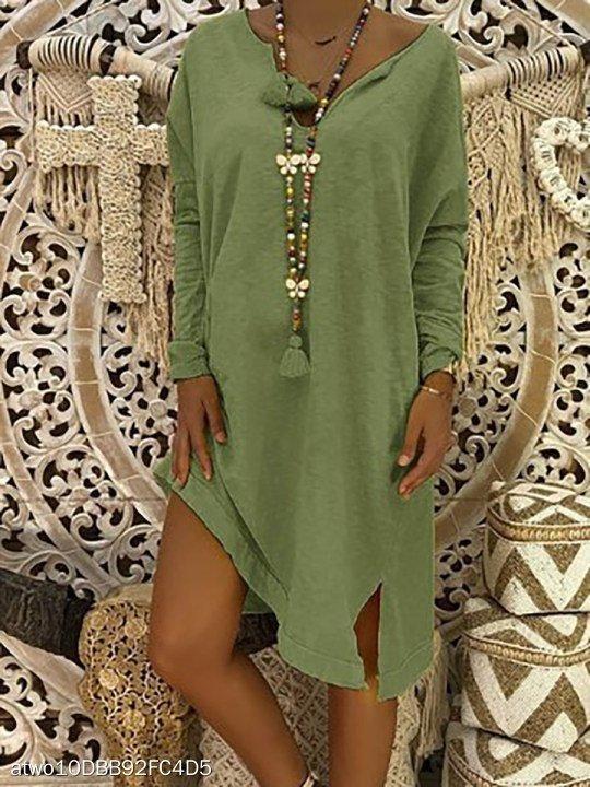 Women Midi Dress Plus size Fashion Women's V Neck Solid Color