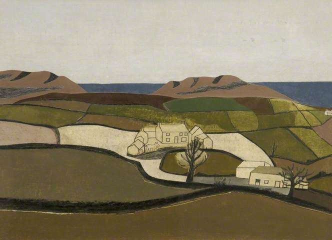 Ben Nicholson - the fields form patches of color all neatly divided but still representative of a landscape familiar to the artist.