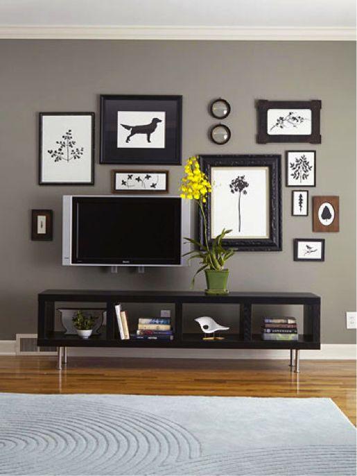 wall mount tv decor.... I was gonna use family pics :)