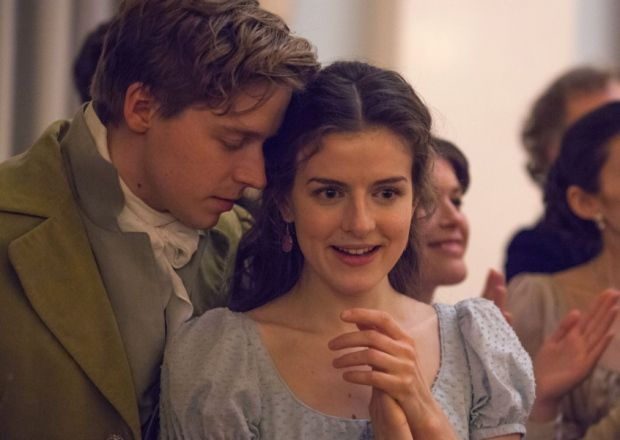 Loftus as Sonya in War and Peace with  Jack Lowden. Picture: BBC