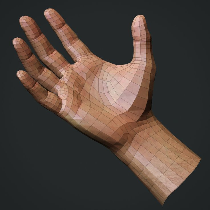 realistic male hand obj