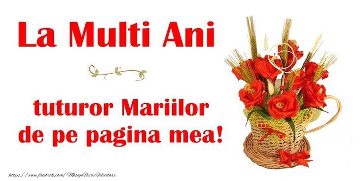 La multi ani tuturor Mariilor de pe pagina mea!
