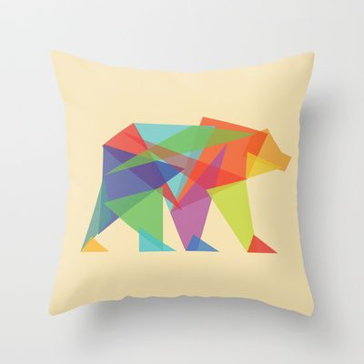 Fractal Geometric bear Throw Pillow by Budi Satria Kwan - $20.00