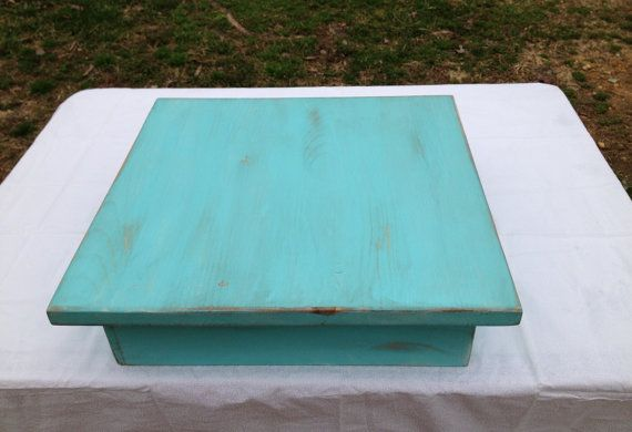 Wedding Cake Stand aqua blue square cake stand by sweetshelbys