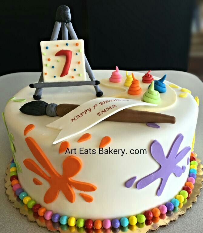 #Kids #artist unique modern #birthday #cake with buttercream #paint , paint brush and paint splashes with edible easel topper.  Http:// www.arteatsbakery.com