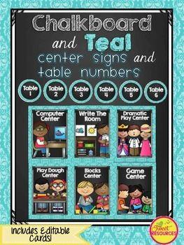 Center Signs {Chalkboard and Chevron Classroom Decor Theme}