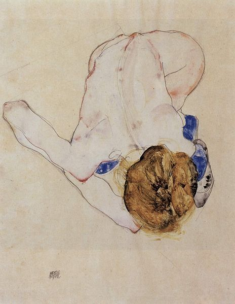 "Egon Schiele: title unknown [nude sketch of woman; overview of subject facing viewer and crouched over floor], Line drawing + chalk + watercolour. Expressionism. ""An emaciated simplicity of line, as beauteous in its exclusion..."""