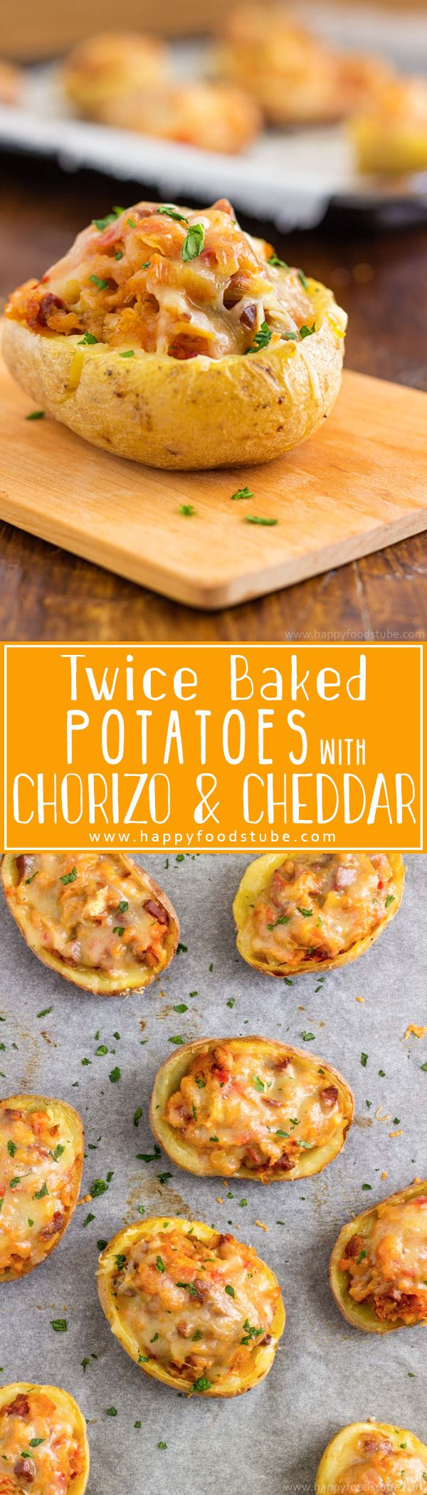 Twice baked potatoes with chorizo and cheddar can be enjoyed as an appetizer, side dish or a main! They are rich, filling and most of all delicious! Super easy recipe! | happyfoodstube.com