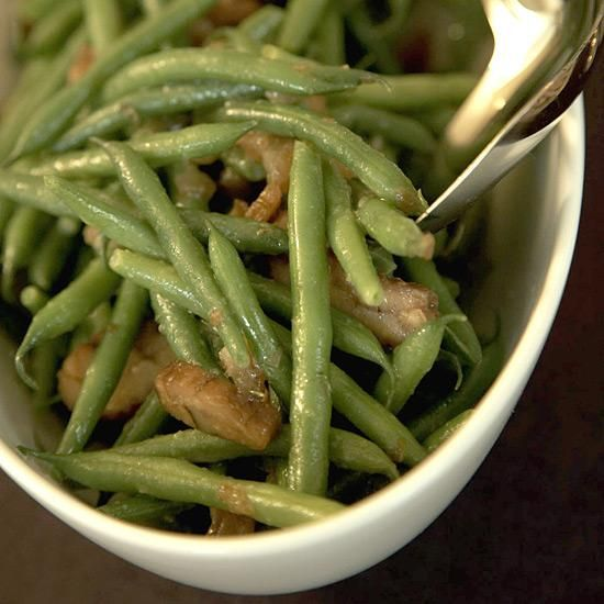 Haricots Verts and Chestnuts with Date Vinaigrette | Here, Barbara Lynch adds fresh chestnuts to give the dish a meaty fall flavor. Finely chopped dates in the cider vinegar dressing lend a lovely, subtle sweetness.