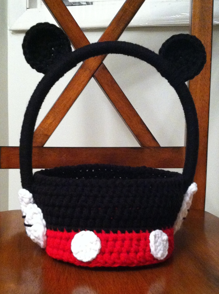 Crochet Mickey Mouse Easter Basket