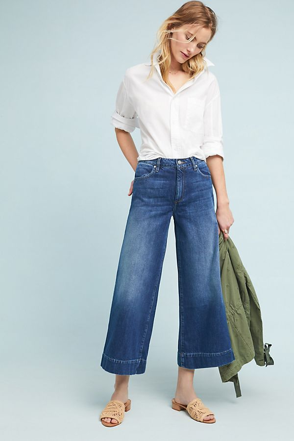 599e5ac4d2bb85 Reiko Pedro Mid-Rise Culotte Jeans in 2019 | Anthro Style | Jeans ...