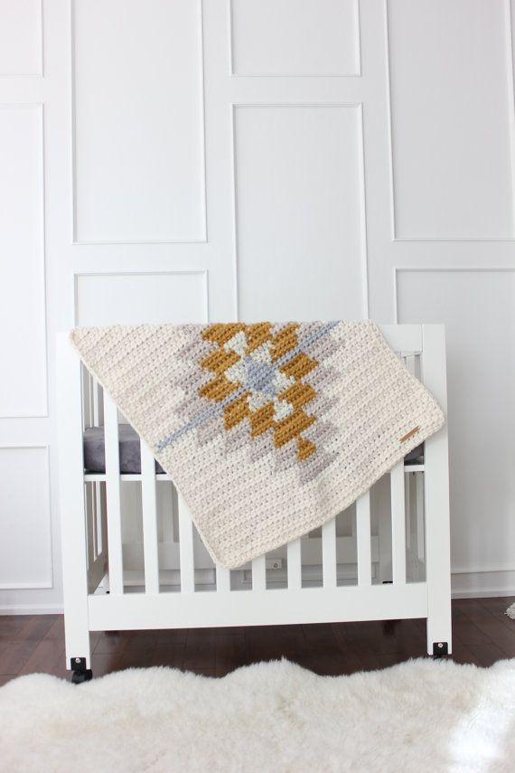 Lil Fox Kilim Blanket  This super thick and cuddly modern blanket is handmade from a soft blend of wool and acrylic yarn. The size is approximately 27x32. Its the perfect accessory to any nursery and works well in the crib, bassinet, stroller, and car seat.  If you would prefer this blanket in a different colour combo please contact me and I will be happy to do a custom order for you.  Please note that this blanket is made to order and is NOT ready to ship.  Thanks so much for browsing lil'…