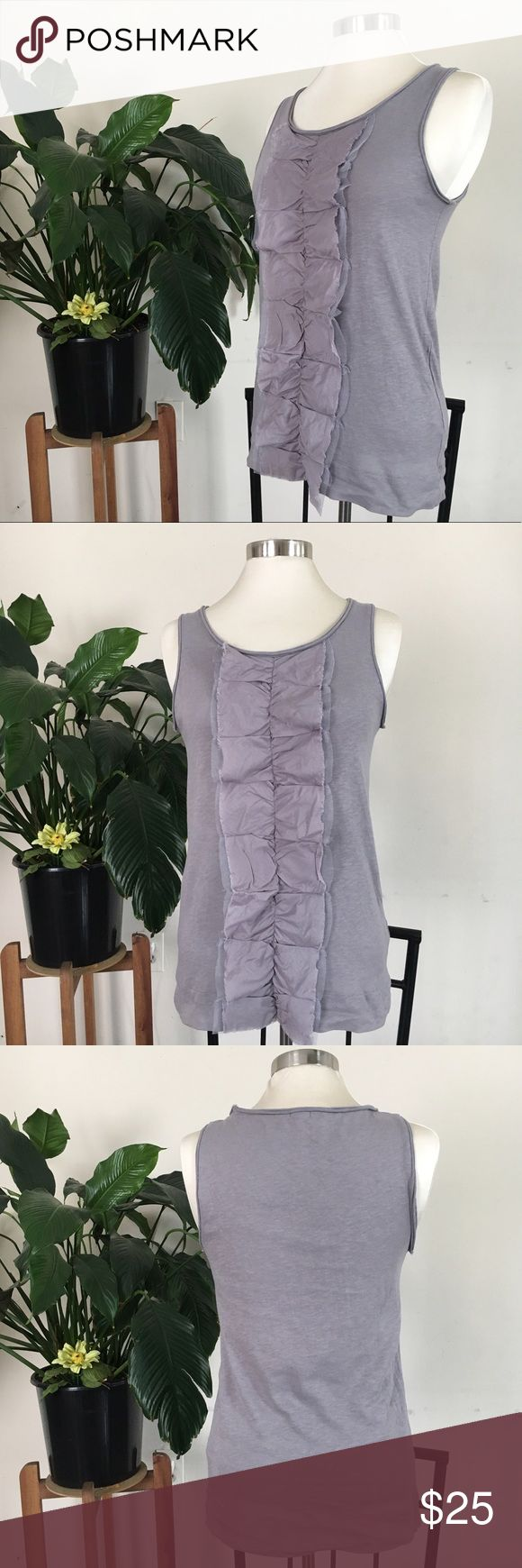 J Crew -gray top In excellent condition- gray/grey, with ruffle down the middle on the front. Sleeves less- great for summer! J. Crew Tops Tank Tops