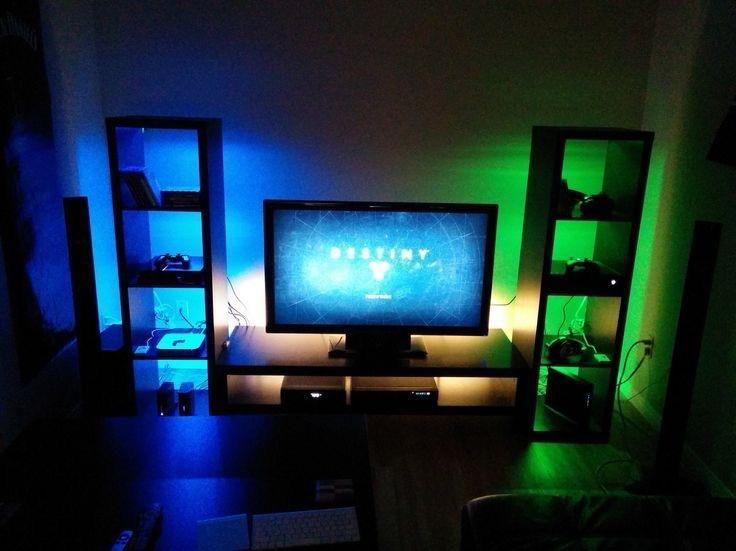 1300 Xbox Gaming Set Up Lights Not Included Boys Game Room Gamer Room Gamer Room Diy