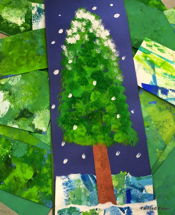 Painted Paper Alpine Trees Winter Art Project For Kids