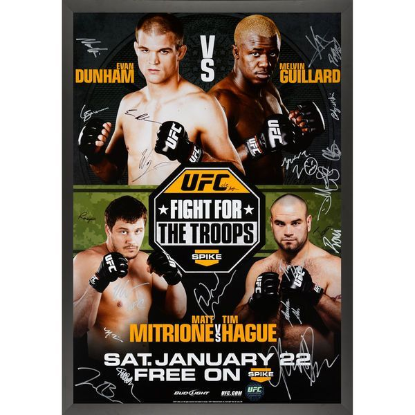 """Fanatics Authentic UFC Fight Night 23 Fight for the Troops 2 Framed Autographed 27"""" x 39"""" 22-Signature Event Poster - $349.99"""