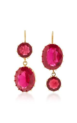 Renee Lewis Pink Sapphire Drop Earrings