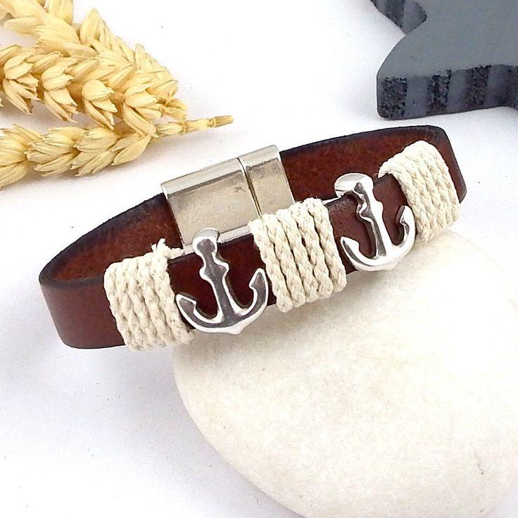 kit tuto bracelet cuir marron style marin ancres et fermoir plaque argent : Kits, tutoriels bijoux par bijoux-giuliana