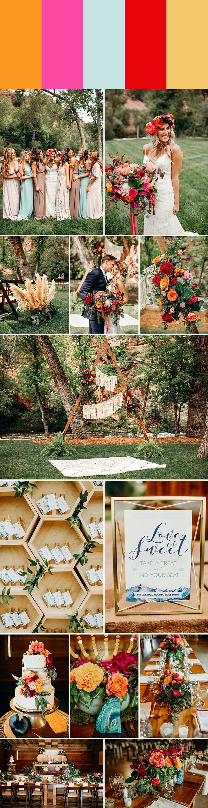 Spring wedding color palette idea: tangerine + hot pink + pale turquoise + fire engine red + dusty ochre | Image by Shannon Lee Miller