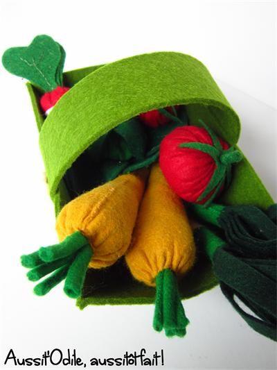 Baquet de légume en feutrine