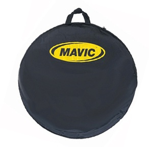 """MAVIC Wheel Bag - The Mavic Wheel Bag is great to carry and protect your wheels. The black zippered bag with Mavic logo offers padding throughout for one wheel. The Mavic Wheel Bag has wheel axle reinforced pads sewn in to prevent axle damage to the wheel and bag. The Mavic Wheel Bag fits 24""""/26"""" and 27""""/650C/700C road wheels."""