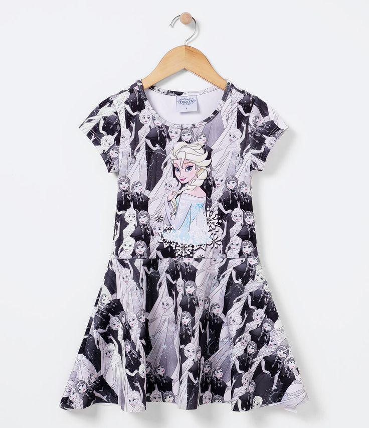 Vestido infantil  Manga curta  Gola redonda  Com estampa  Marca: Frozen  Tecido: neoprene  Composição: 91% poliéster e 9% elastano       COLEÇÃO INVERNO 2016     Veja outras opções de produtos    Frozen.