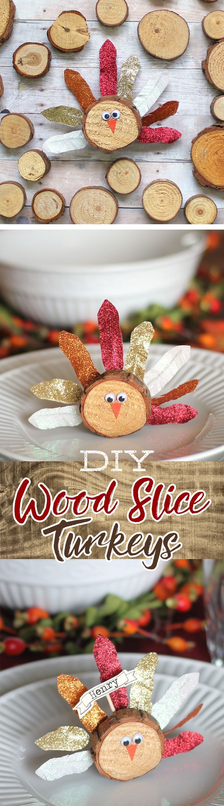 Make these wood slice turkeys with washi tape feathers to decorate your Thanksgiving table, use as place card holders or napkin rings. A cute and easy Thanksgiving craft.