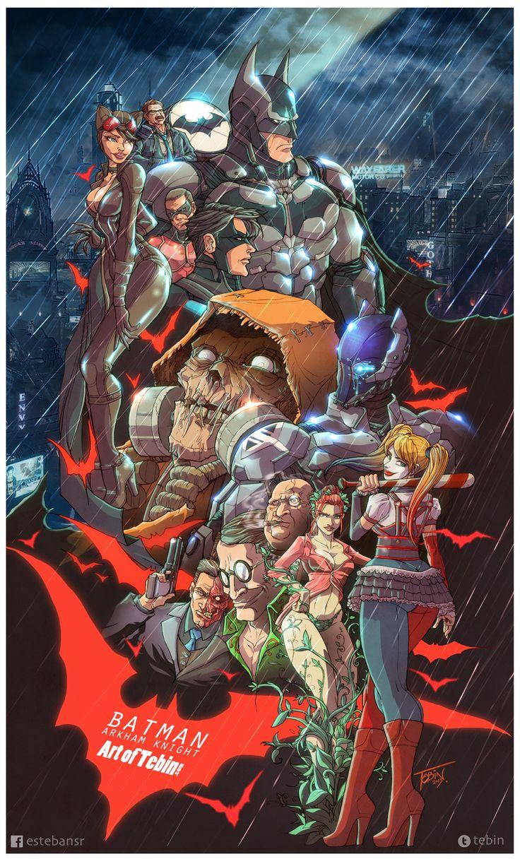 Batman Arkham Knight tribute,  Acertijo, Ala nocturna, Arkham Knight, Batman, Bruce Wayne, Catwoman, cómic, DC, DC comics, Dos Caras, Espantapájaros, Gordon, Harley quinn, Hiedra venenosa, Poison ivy, poster, Robin, Scarecrow.