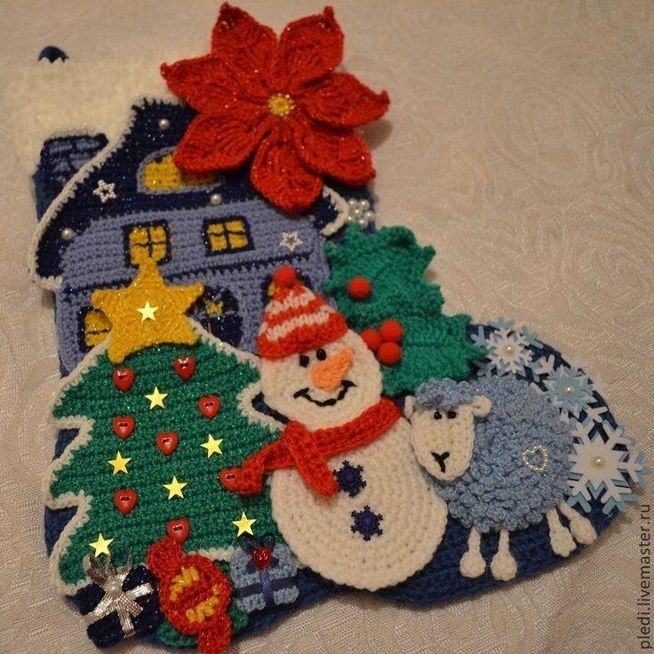 Купить Рождественский сапожок с аппликацией - синий, рождественское украшение, рождество, рождественский декор, рождественский