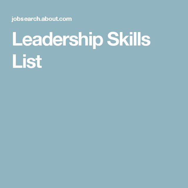 Více než 25 nejlepších nápadů na Pinterestu na téma Leadership - skills list