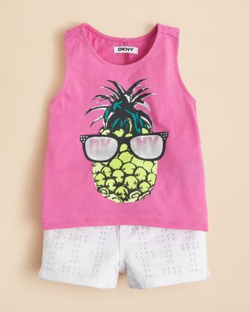 DKNY Girls' In the Shade Pineapple Tank & Hi Rise Studded Shorts - Sizes 2-6X