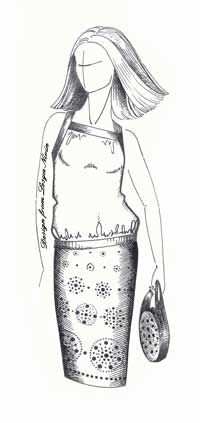 Выкройка блузы на бретелях свободного покроя (Выкройки своими руками) Блуза на бретелях свободного покроя. Перед лифа с вырезом горловины «каре», присборенный от узкой кокетки-бейки. Проймы и верхний срез спинки обработаны подкройной бейкой, переходящей в бретели.