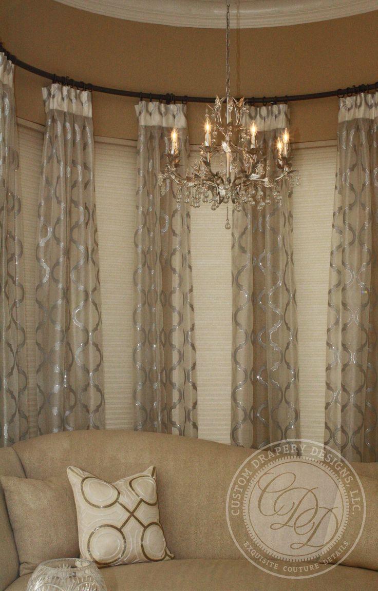 Unique curtain hanging ideas - Custom Drapery Designs Llc Drapery Love This Curved Drapery Rod