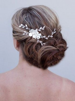 Mother of Pearl Flower Hair Comb ~ Lovely - Hair Comes the Bride Bridal Hair Accessories & Headpieces, Wedding Jewelry, Hair & Makeup