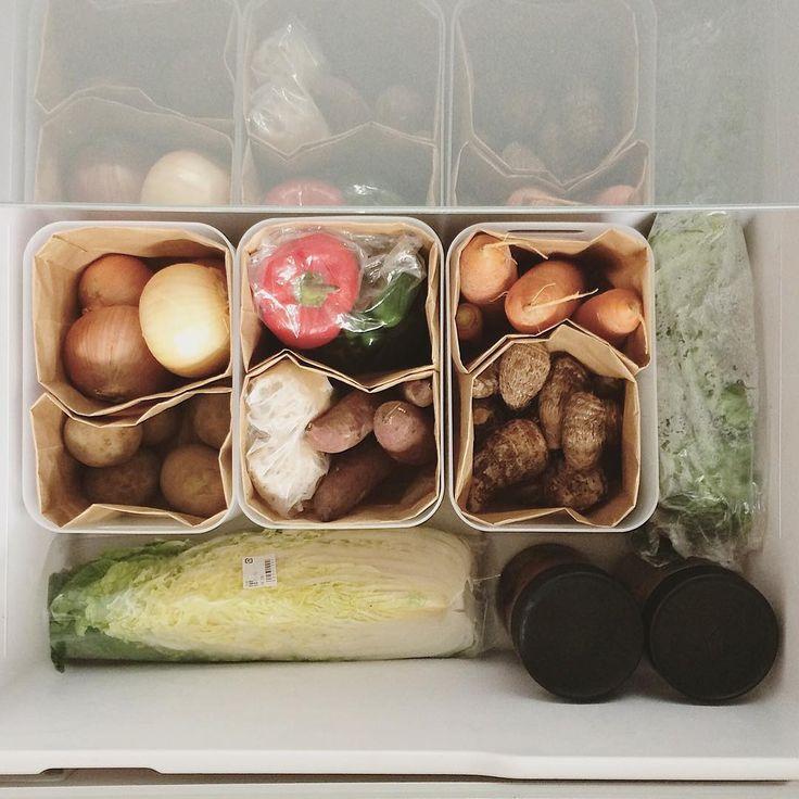 2015.11.17 野菜室の仕切り . 野菜によって適切な保存方法は違うみたいだけどそんなにまめじゃないので、うちでは全部冷蔵庫に入れてしまいます. 野菜室は深さがあるから、ポリプロピレンのボックスで仕切って、それをさらにブラウンバックで仕切っています. ブラウンバックだときっちりしすぎなくて、里芋が多くて人参が少ないとか広さに融通がきくし、汚れたら捨てられるので根菜にぴったりです. ポリプロピレンボックスとブラウンバックのおかげで、汚れがちな野菜室の丸洗いを頻繁にしなくてすみます. . #暮らしの中の仕組み作り #台所 #収納 #無印良品 #野菜室 #冷蔵庫 #私たちの収納スタイル .