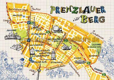 Prenzlauer Berg, Bezirk von Berlin illustrierte Karte von Bianca Schaalburg