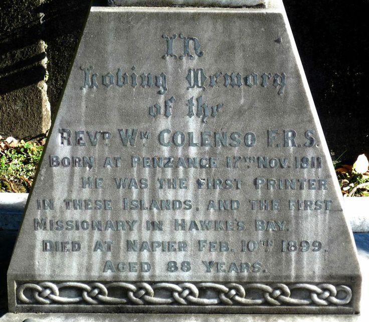 William Colenso's headstone, Napier